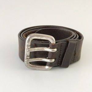 Men's Express Leather Belt Silver Buckle Brown M